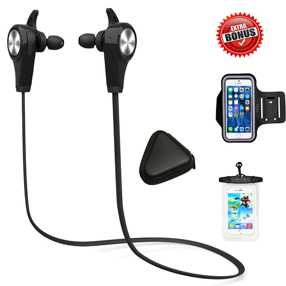 CoolKo Q9 Newest Sport Wireless Bluetooth Stereo Sweat proof Headphone for Running Gym Exercise with Microphone for iphone X 8 7 and Android with 3 bonus