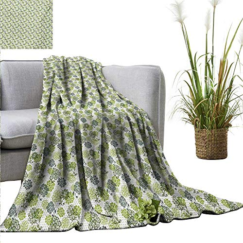 PearlRolan Summer Blanket Floral,Abstract Blossoms in Green Shades on Polka Dotted Retro Style Background,Apple Green Sage Green Lightweight Breathable Flannel Fabric Machine Washable 35