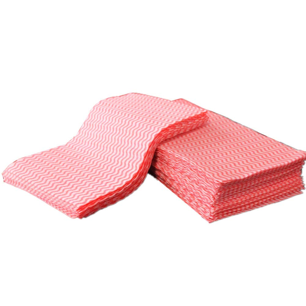 再利用可能な布 レッド household-cleaning-cloths B077X6QNZ1 Red,60 Sheets