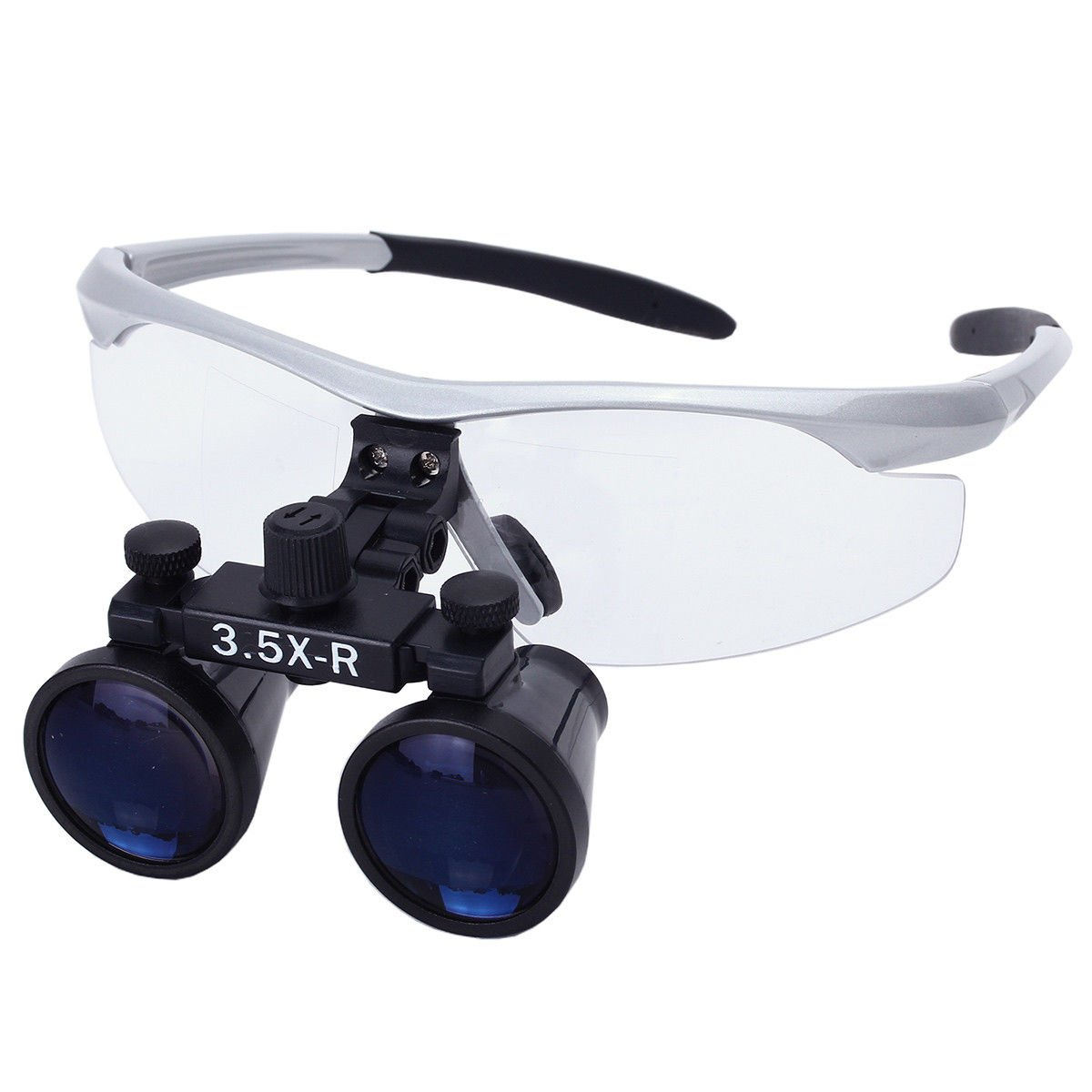 Silver LED Head Light Lamp Ocean Aquarius Portable Surgical Magnifier Binocular Loupes 3.5X-R