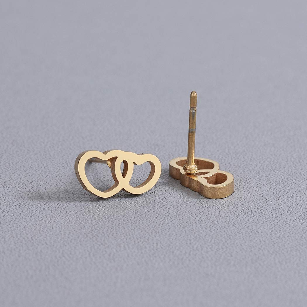 Double Love Hearts Piercing Stud Earring Stainless Steel Engagement Wedding Jewelry Valentines Gift