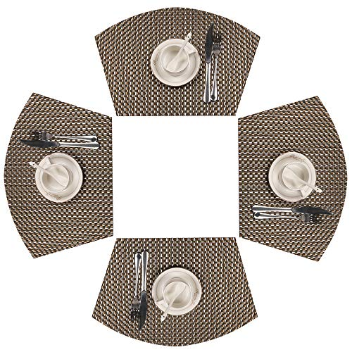 SHACOS 4 PCS Wedge Placemats for Round Tables Heat Resistant Table Mats Placemats Washable (4, Black White Gold) ()
