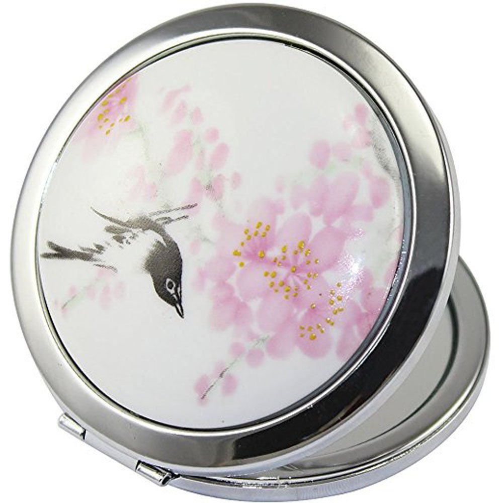 ADAMAI Makeup Cute Chinese Landscape Flower Bird Handhold Metal Round Hand Pocket Cosmetic Mini Mirror 2