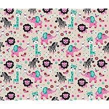 Zebra Fabric - Pink Jungle Zoo Animals Elepant Giraffe Lion Monkey Lemur Zebra and Birds Illustration Design for Girls by littlesmilemakers - Printed on Kona Cotton Fabric by the Yard