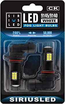 Pack of 2 SIRIUSLED Ice Blue 9145 9140 LED Fog Light Bulbs DRL Super Bright 2835 26-SMD 12V LED Bulbs Replacement for Cars Trucks