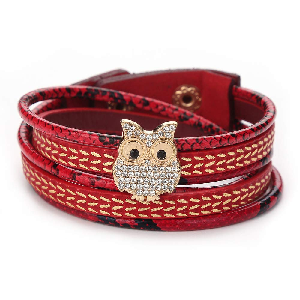 Women Lovely Owl Multi-Layer Rhinestone Winding Jewelry Bangle Wrap Charm Bracelets Gift for Girls Mens Teens Student Best Friend Forever(E)