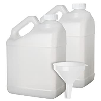 2 Pack - 1 Gallon Plastic Bottle - Large Empty F-Style Jug Container with Child Resistant Airtight Lids - for Home and Commercial Use - Food Safe BPA Free - Made in U.S.A.