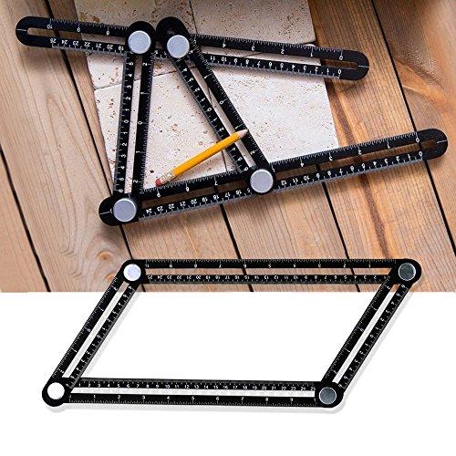 Gledto Multi Angle Measuring Ruler - Aluminum Alloy Angleizer Template Measurement Tool for Craftsmen, Builders, Woodworking, DIY, Black