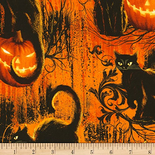 Quilting Treasures Halloween Fabric (Timeless Treasures Wicked Hot Black Cats Fire Fabric by The)