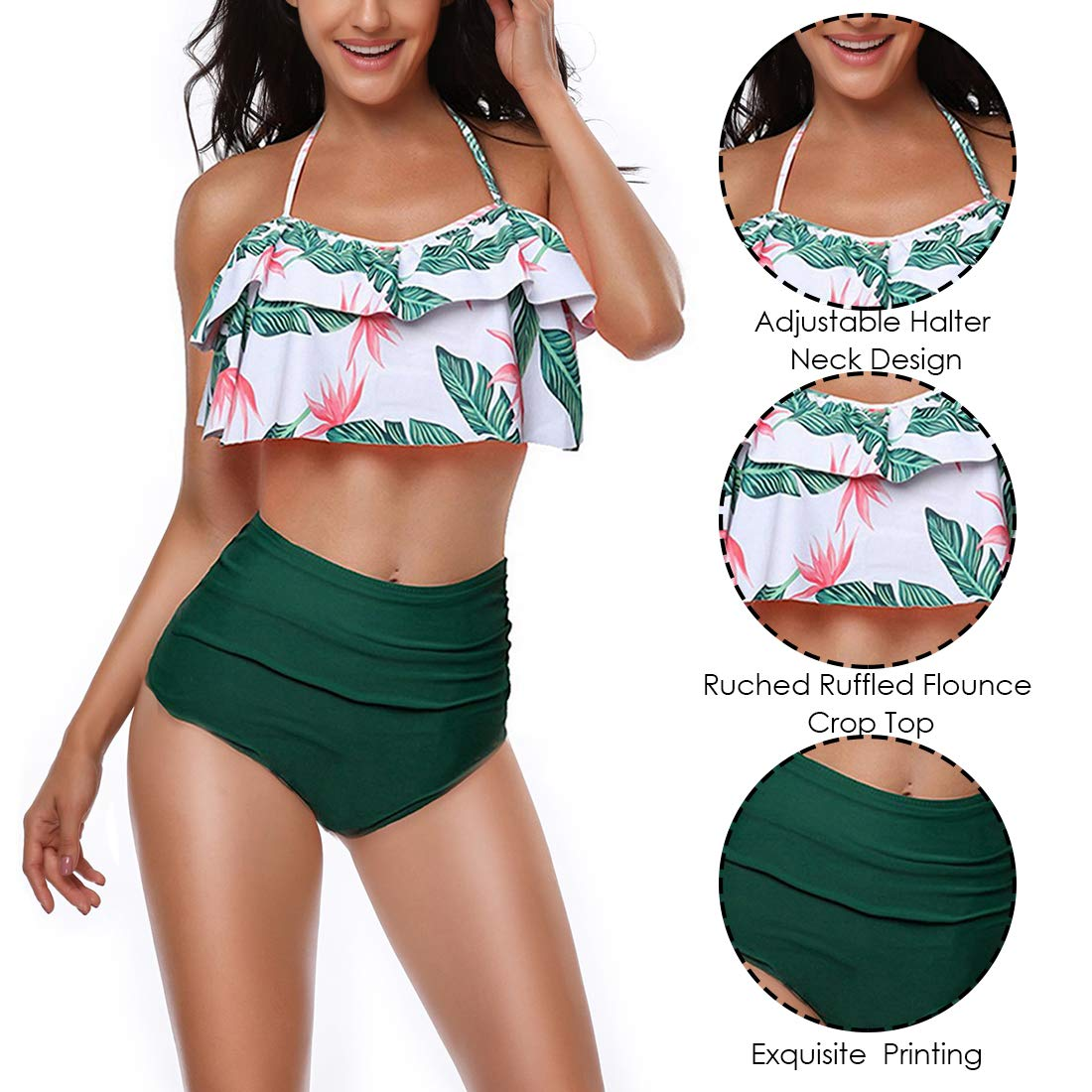 7a5590dc5b Amazon.com: papasgix Womens Two Pieces Swimwear Retro Ruffle Flounce High  Waisted Bikini Set Halter Neck Bathing Suit: Clothing