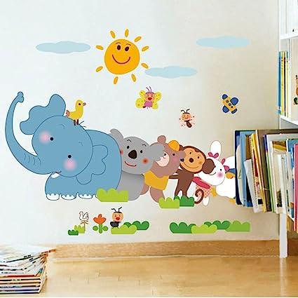 Decals Design Jungle Cartoon Cute Animals Wall Sticker (PVC Vinyl, 60 cm x 90 cm, Multicolour)