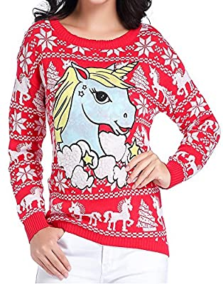 V28 Ugly Christmas Sweater, Women Girl Junior Unicorn Clothes Jumper Red Sweater