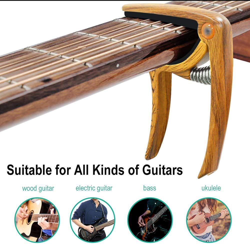 banjo e mandolino Colore del legno MIMIDI Capotasto per chitarra acustica ed elettrica senza graffi senza ronzio adatto anche per ukulele facile da spostare con una sola mano