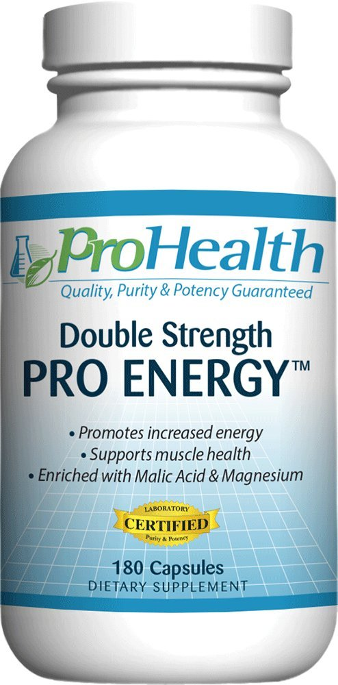 ProHealth Pro Energy Double Strength (180 capsules) Boost Cellular Energy Production | Magnesium, Malic Acid, Vitamins B-1 & B-6, L-Tyrosine by ProHealth