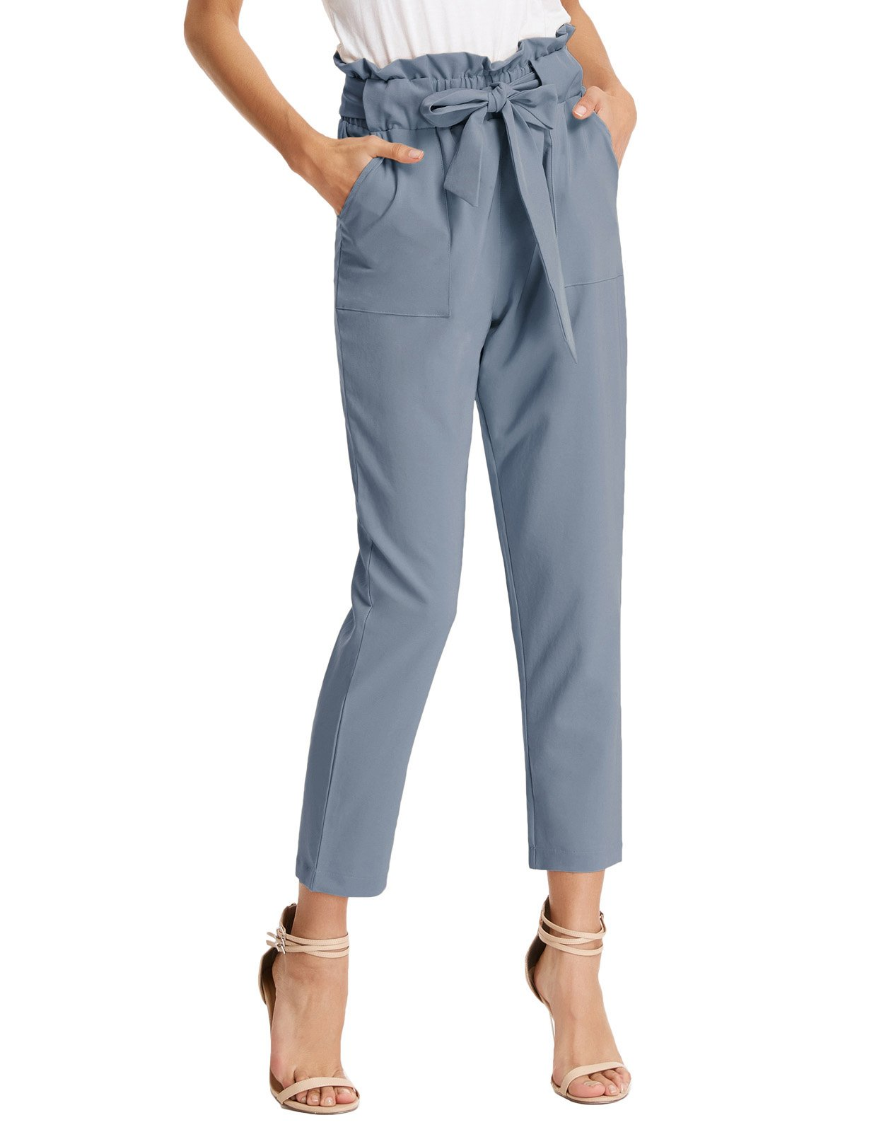 Women's Simple Solid Ruffle Tie Waist Pants with Pockets L Gray Blue