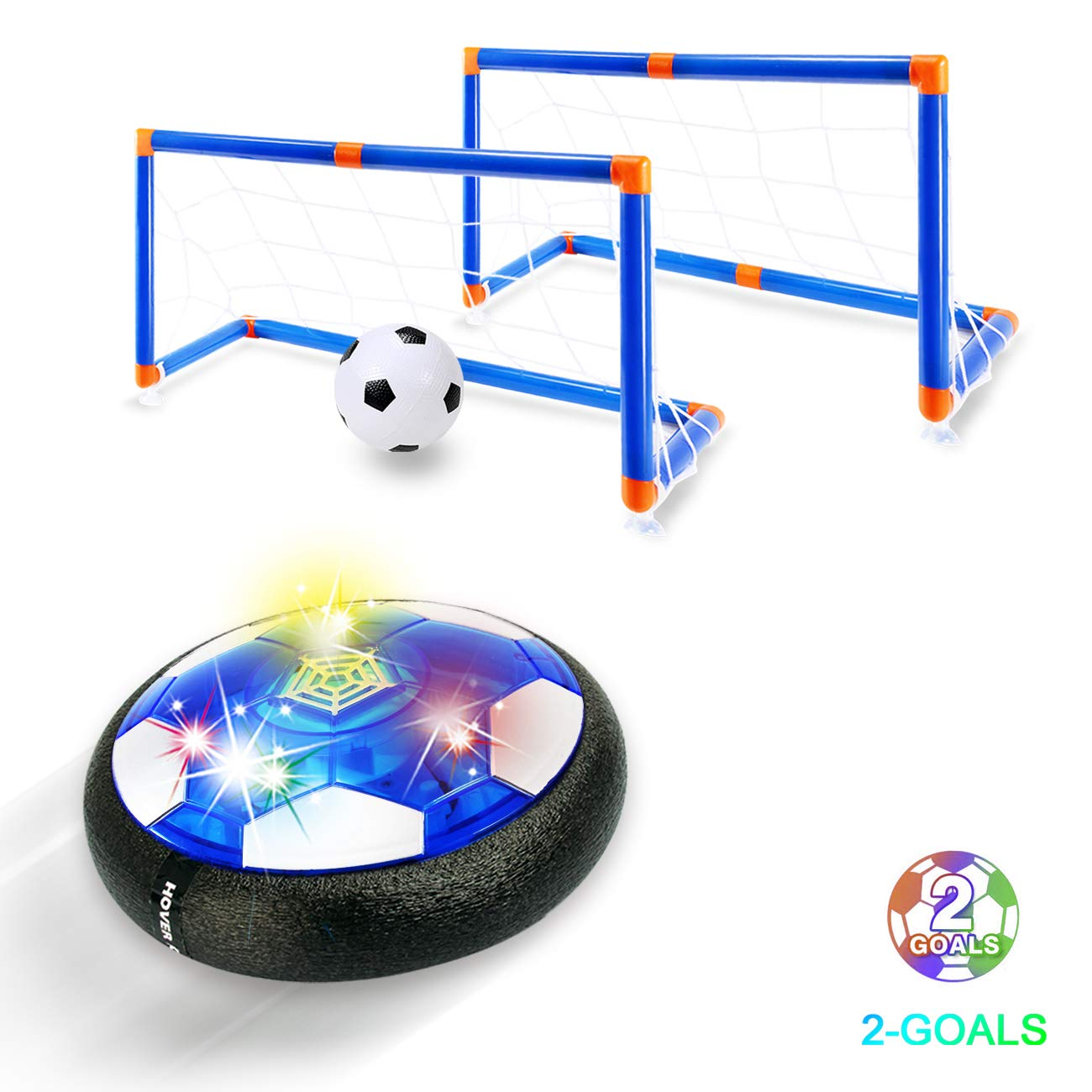 Kids Toys Hover Soccer Ball - 2019 Updated Rechargeable LED Air Power Soccer Set with 2 Goals and an Inflatable Ball, Indoor Toddler Toys for 3,4,5,6 -14 Year Old Boys Girls (Rechargeable Version) by FREE TO FLY
