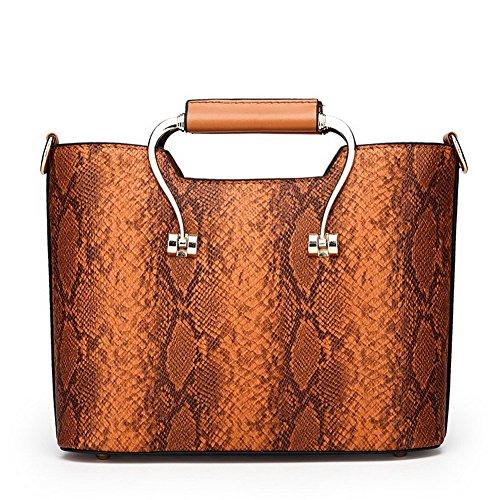 VogueZone009 Donna Moda Borse a tracolla Casuale Satchel-Style Borse a tracolla,CCALBP181271,Grigio Marrone
