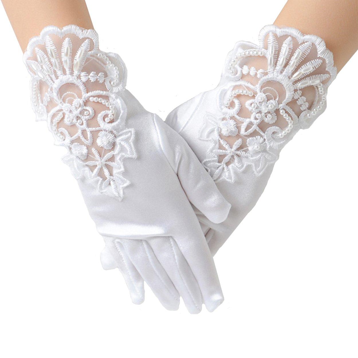 Elesa Miracle Girl Embroidered White Satin Formal Gloves, Child Size Wrist Length Gloves, for Age 4-7 Years ( Wrist Embroidered White)
