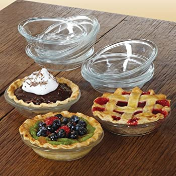 Libbey CRI56236 Glass Just Baking Pie 4.9 inches 10 Pieces Mini Pie Glass Dishes for Holiday Pie