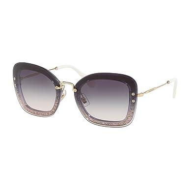 edb970216df8c MIU MIU Reveal Rectangle Sunglasses in Transparent Dark Violet Glitter MU  02TS 86LNJ0 65  Amazon.co.uk  Clothing