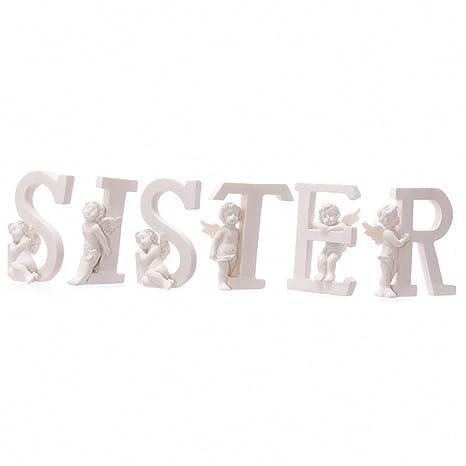 Blanco Querube SISTER Letras - Juego de 6 Cartas