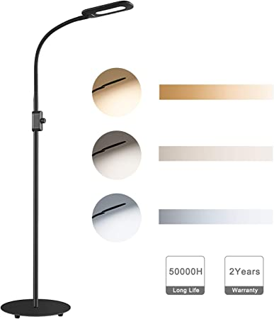 AUKEY LED Floor Lamp, 3 Colour Temperatures & 20 Dimmable Brightness Levels, Eye Care Floor Light with Flexible Gooseneck, Standing Reading Lamp for