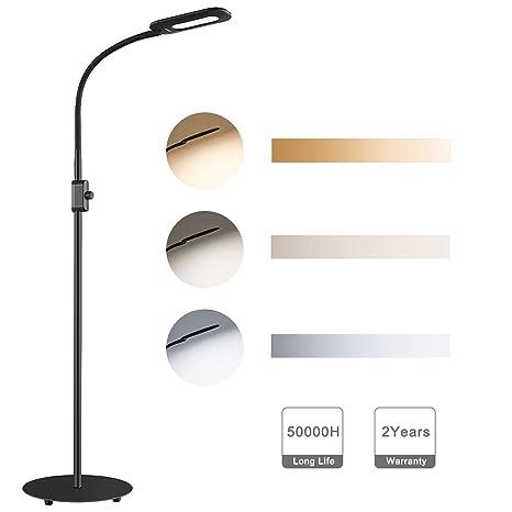 AUKEY Lámpara de Pie Regulable con Perilla de Control de Brillo y Cuello Flexible, Lámpara LED Cuidado de Ojos, Luz Blanca Natural para Salon y ...