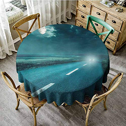 SEMZUXCVO Waterproof Backing Tablecloth Horror House Decor Soft and Smooth Surface Highway Road to Hell Under Storm Clouds Asphalt Twilight Terror Image Artwork D35 Blue
