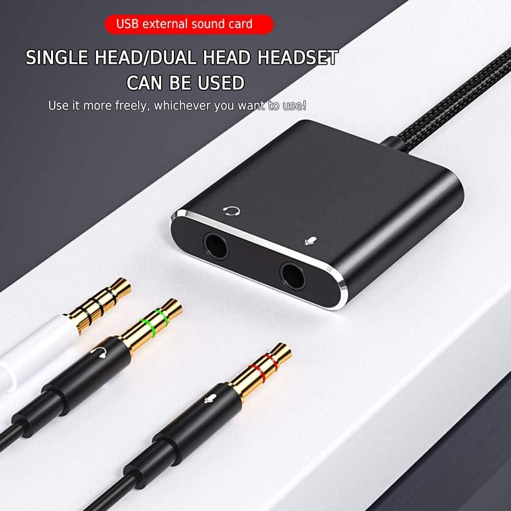 Jackallo Adaptador de Tarjeta de Sonido Externo USB Convertidor de Tarjeta de Sonido con Conector para Auriculares y micr/ófono