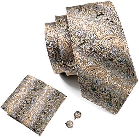Hi-Tie Classic Paisley Tie Handkerchief Set Woven Silk