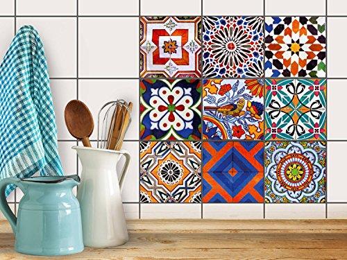 Fliesenfolie Klebefolie | Fliesen Aufkleber Folie Sticker selbstklebend Küche renovieren Bad Küchendekoration |10x10 cm Motiv Design Portugiesische Fliesen - 9 Stück