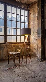 WDM Eiche Stehlampe,Tripod,Wohnzimmer,Lampe,Stehleuchte,Leuchte,Wohnzimmer,Innenbeleuchtung, Schlafzimmer,Lampenschirm,Handgefertigte Leuchte,Holz Gestell,Schirm dunkelgrau/gold