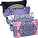 BBTO 4 Pieces Makeup Bag Waterproof Toiletry Pouch Cosmetic Bag with Mandala Flowers Patterns, 4 Styles