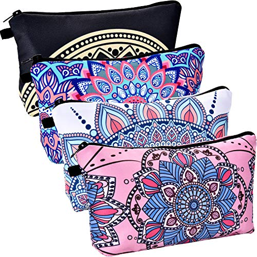 BBTO 4 Pieces Makeup Bag Waterproof Toiletry Pouch Cosmetic Bag with Mandala Flowers Patterns, 4 Styles (Piece Makeup Bag 4)