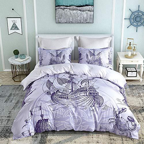 LOUHO Mediterranean Style Blue Sailboat Bedding Sets Queen Size, 3 Pieces(1 Duvet Cover, 2 Pillowcases, No Comforter)(Queen, Sailboat)