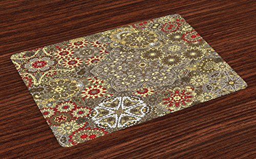 Lunarable Batik Place Mats Set of 4, Vintage Paisley Forms with Batik Style Flowers and Circles Moroccan Persian Patterns, Washable Fabric Placemats for Dining Room Kitchen Table Decor, Multicolor ()