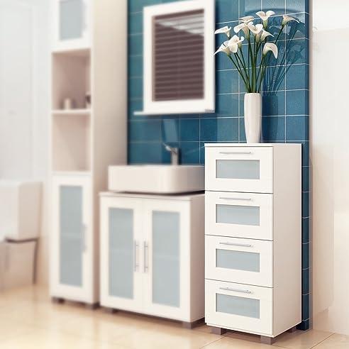 Badezimmerschrank Badezimmer Kommode Badschrank Badregal mit 4 ...