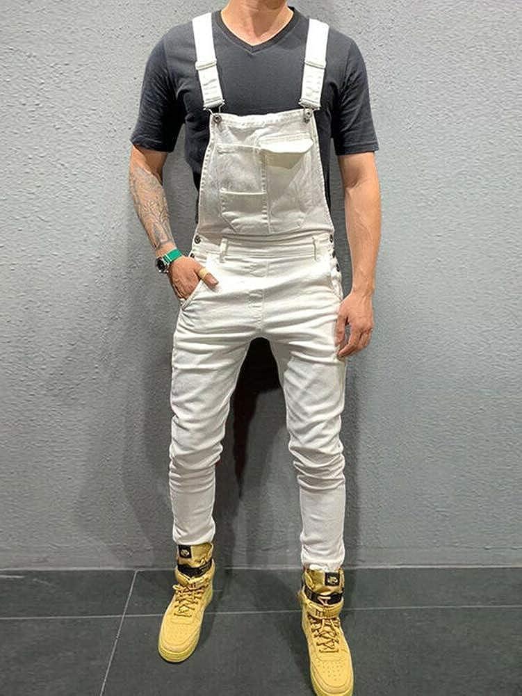 Salopette Homme Slim Combinaison Pantalon Denim Skinny Mode Salopette de Travail Taille Grande