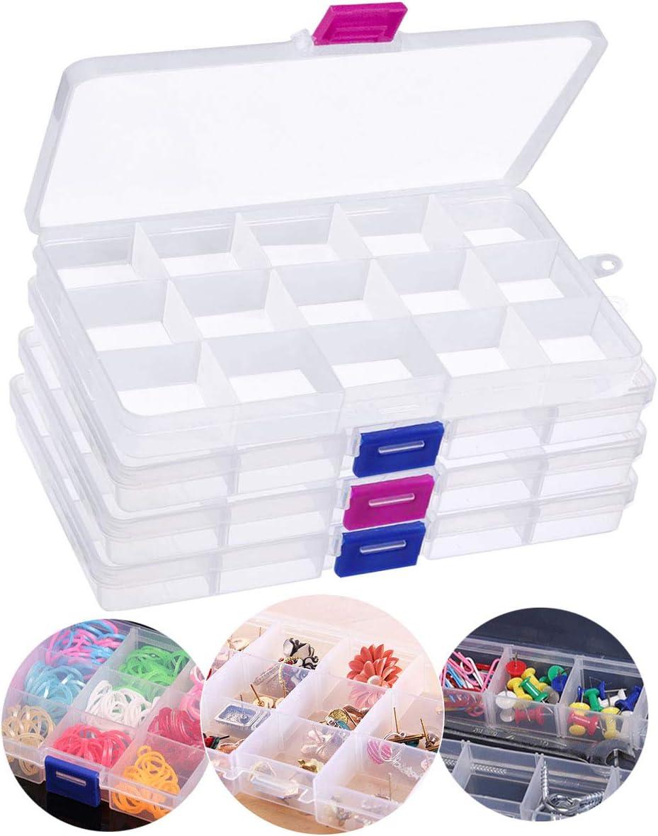 4pcs Caja de Almacenamiento con Compartimentos, 60 Rejillas Desmontables Caja Almacenamiento de Cuentas, Cajas Organizadoras de Aretes Plástico para Coser Artesanías de Joyería (17,5 x 10 x 2,5 cm)