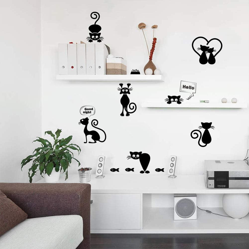 Junecake Gattino nero Adesivo da parete,Camera da letto domestica Interruttore fai-da-te Sticker Art Sticker Decal Mural