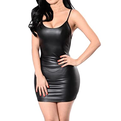 Minisoya Women Summer Sleeveless Faux Leather Sling Dress Night Out Clubwear Evening Party Open Back Bodycon