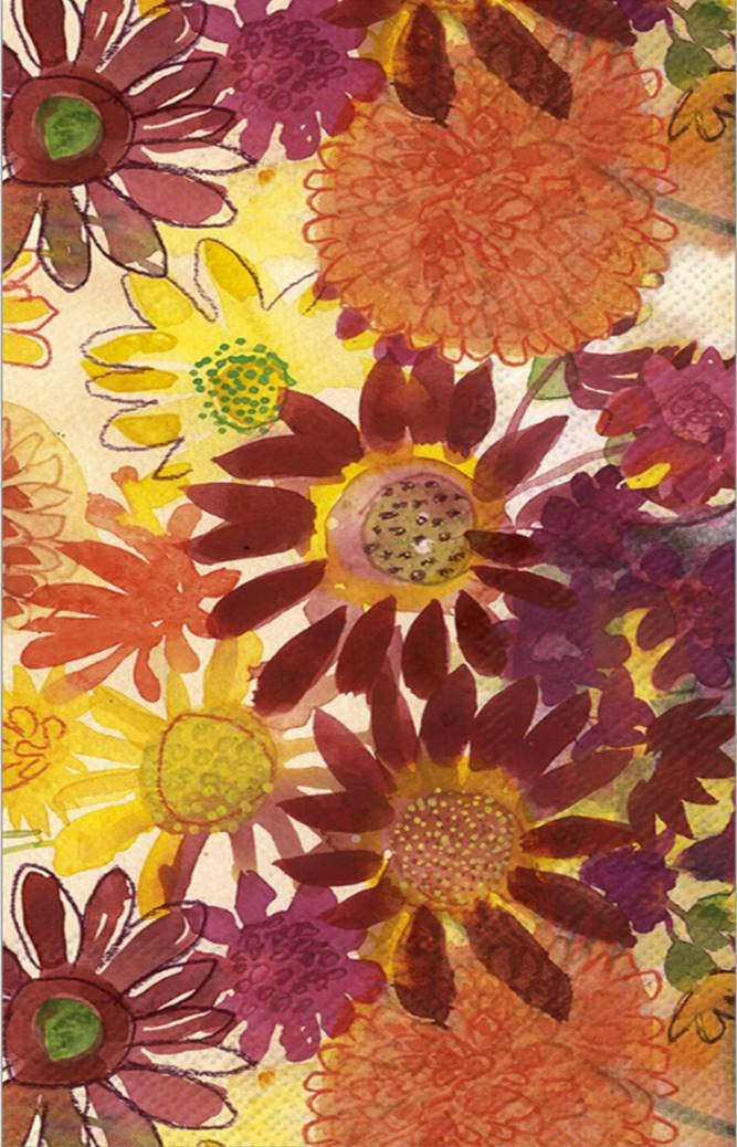 Ideal Home Range Bulk Count 3-Ply Guest Towel Dinner Buffet Paper Napkins, Bunch of Fall Flowers (32 Count: 2 Packages of 16 Count) by Ideal Home Range