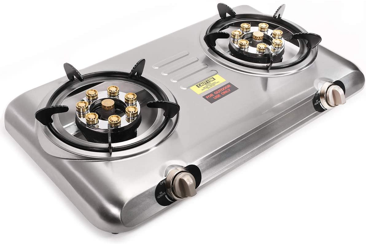 Barton Portable Propane Gas Range 2-Burner Stove Cooktop Auto Ignition Outdoor Grill Camping Stoves Tailgate LPG