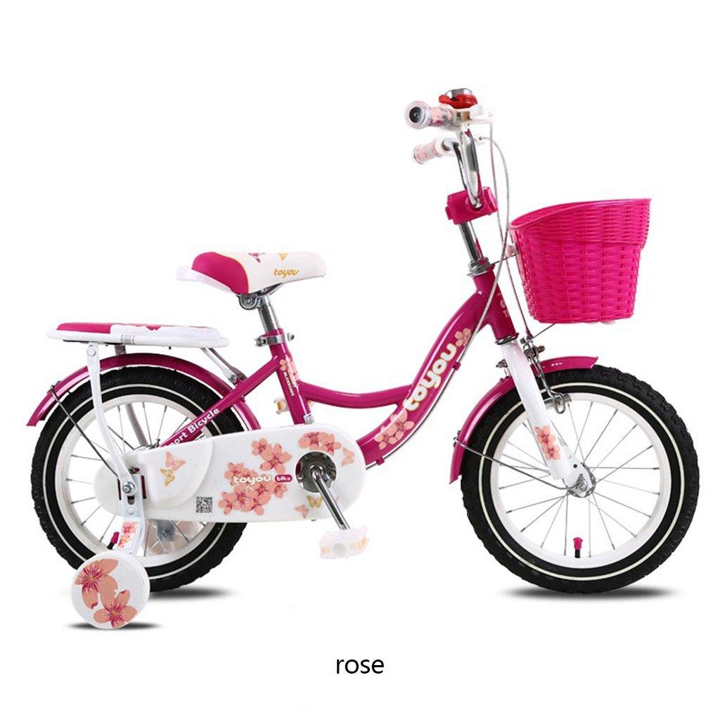 CSQ 子供の自転車、女の子に適したサイドホイールバスケット付きのベイビー快適なシートメタル素材2-10歳の使用88-121CM 子供用自転車 (色 : ローズ, サイズ さいず : 88CM) B07DQHT4QV 88CM|ローズ ローズ 88CM