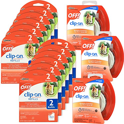 OFF! Mosquito Repellent Combo Kit - 3 Pack Clip On Fan & 24 Refills