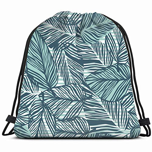 Tropical Palm Leaves Drawstring Bag Backpack Gym Dance Bag Reversible Flip Sequin Bling Backpack For Hiking Beach Travel Bags
