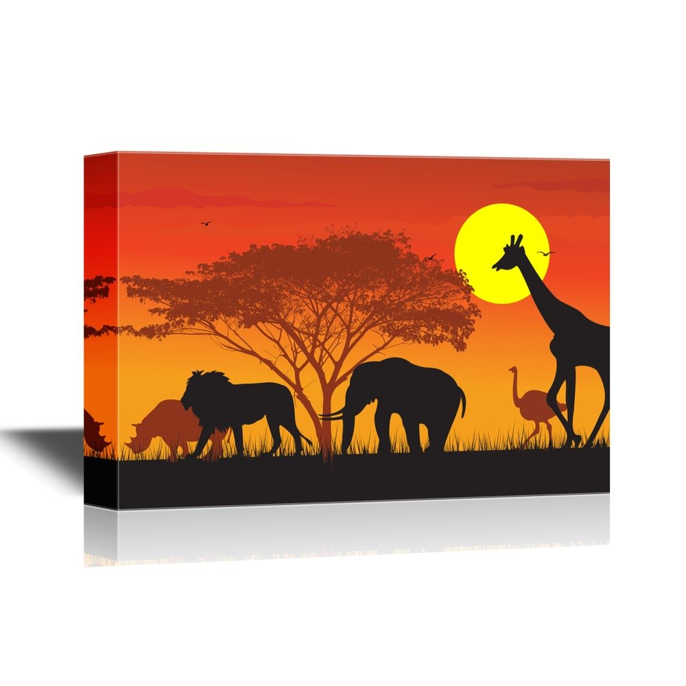 Wall26 art prints framed art canvas prints greeting wall26 african savanna sunset canvas wall art wild animals and acacia tree on african savannah at sunset gallery wrap modern home decor ready to amipublicfo Image collections