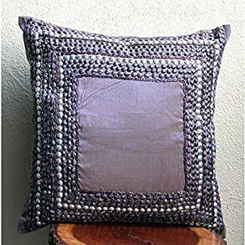 The HomeCentric Designer Purple Pillows Cover, Contemporary Bordered Pillow Covers, 12 x12 Pillow Covers Decorative, Art Silk Square Pillow Covers, 3D Antique Sequins Pillows Cover – Purple Glamor