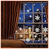 81 pcs Clings Decal Stickers Christmas White Snowflakes Window Seasonal Décor