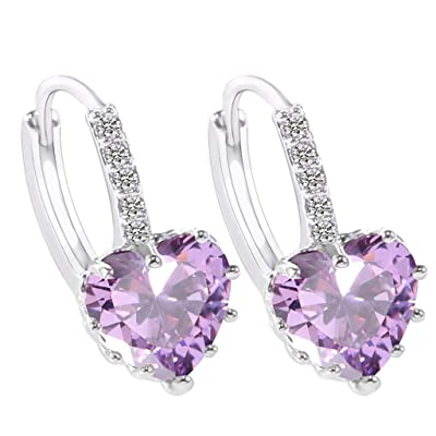 Gahrchian Rhinestones Earrings Stud Swarovski Crystal Pendant Earrings Stud for Women and Girls Gift Jewelry (Purple): Clothing